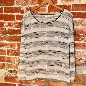 Dylan by True Grit Open Knit Striped Pullover